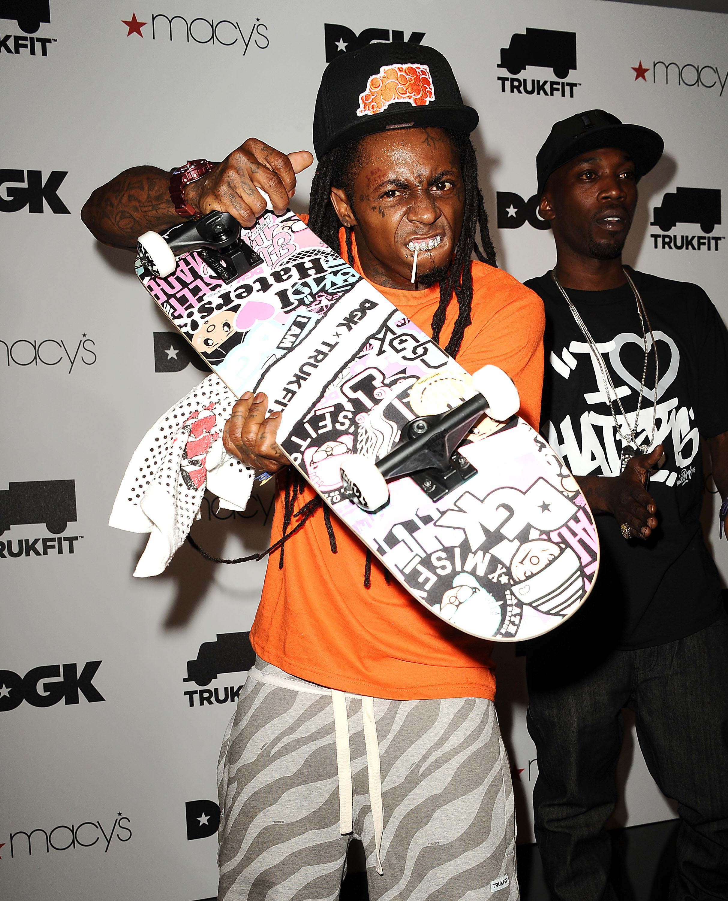 Macy's Beverly Center Welcomes Grammy Award Winning Hip Hop Icon Lil Wayne And Professional Skateboarder Stevie Williams