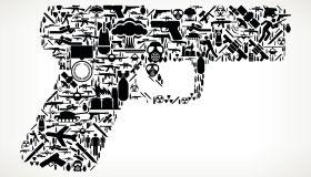 Gun War and Modern Warfare Vector Icon Pattern