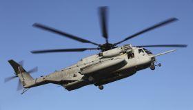 A U.S. Marine Corps CH-53 Sea Stallion helicopter.