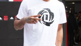 Chicago Bulls player Derrick Rose attends an in-store Adidas promotional event near Champs Elysees