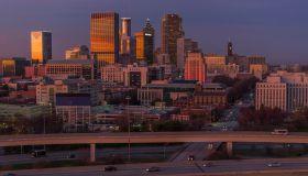 Atlanta cityscape and city street at dusk