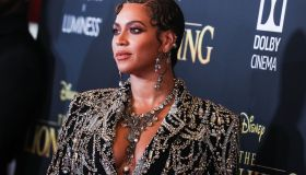 Singer Beyonce Knowles Carter wearing an outfit by Alexander McQueen and Lorraine Schwartz jewelry arrives at the World Premiere Of Disney's 'The Lion King' held at the Dolby Theatre on July 9, 2019 in Hollywood, Los Angeles, California, United States. (P
