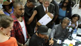 Singer Kanye West visits demonstrators w