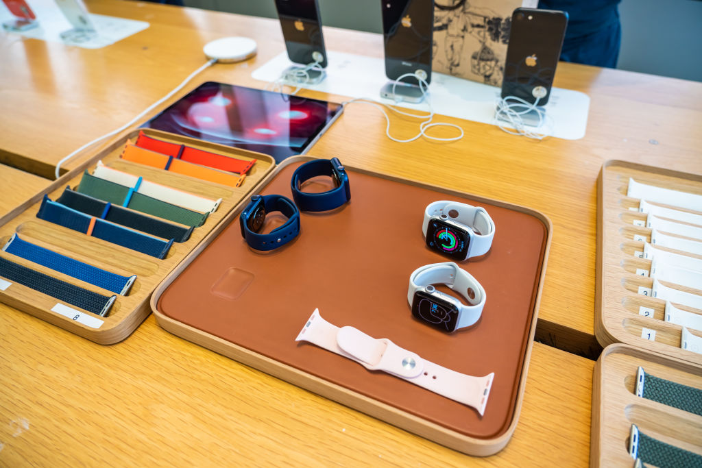 Apple Watch Series 6 displayed at an Apple retail store in...